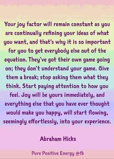 So important for you to get everybody else out of the equation.