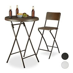 Relaxdays BASTIAN Folding Bar Table, Round, HxWxD: 110 x 80 x 80 cm, Rattan Look, Waterproof, Tall Party Table
