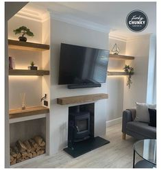 Alcove Ideas Living Room, Feature Wall Living Room, Living Room Shelves, New Living Room, Living Room Designs, Home And Living, Alcove Decor, Front Room Ideas Cosy, Bedroom Alcove