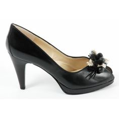 Peter Kaiser Manja peep toe shoes in black - high heel evening shoes