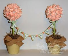 Stampin Up! Flower Power Welcome Topiary Home Decor - My Craft Project Central project - Christy Fulk, Stampin Up! Demo