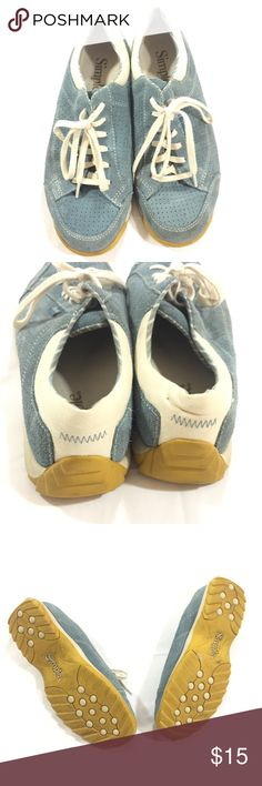 Simple Blue Suede Sneakers Sz 8 These are a cute and preppy pair of Simple sneakers in a light blue suede leather, with cream laces and details. The bottoms are yellow and have minimal wear. They're comfy and ready for summer! Simple Shoes Sneakers