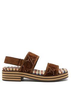 Gucci Suede-trimmed Logo-embroidered Velvet Sandals In Brown Suede Sandals, Houndstooth, Supreme, Open Toe, Ankle Strap, Espadrilles, Monogram, Velvet, Beige