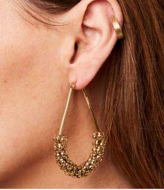 4cm  GOLD tone plain chunky wide tube CLIP ON hoop earrings