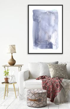 Minimalist Large Abstract Painting Interior Design Art Giclee Print Watercolor Painting by AcrylicVSWatercolor Watercolor Paintings Abstract, Abstract Art, Interior Paint, Interior Design, Blue Walls, Large Wall Art, Giclee Print, Design Art, Minimalist