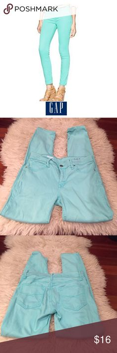 GAP Mid Rise Skinny Legging Jeans in Aqua Glaze GAP Mid Rise Skinny Legging Jeans in Aqua Glaze. 29 inch inseam, Ankle. 8.5 inch rise. Gently worn. Great condition. Feel free to make an offer or bundle & save! GAP Jeans Skinny
