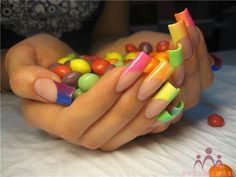 Skittles candy colored nail art #gadient #french manicure