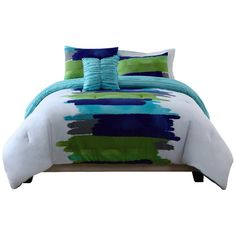 Found it at Wayfair - Watercolor Blue Comforter Set in Blue & Green