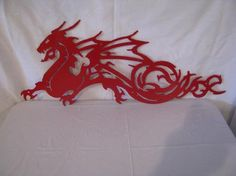 dragon lawn art | Dragon 1 Metal Wall Yard Art Silhouette Red | CabinHollow - Metal ...