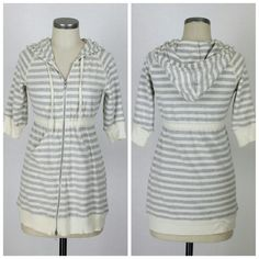 "Free People striped zip up hoodie sweatshirt Sz S. Free People striped zip up hoodie. Elbow sleeves. Kangaroo pocket. Long length styling. Cotton. Excellent condition, no flaws. Approx measurements Bust 33"" Length 29"".  Gray and ivory. Free People Tops Sweatshirts & Hoodies"