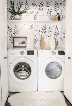 Love this small closet laundry room! Who says a small laundry room can't make a statement? The black & white wall decals tie the space together. Small Laundry Room - Home Decor - Farmhouse Laundry Room - Wall Paper Laundry Room Tiny Laundry Rooms, Laundry Room Design, Laundry In Bathroom, Laundry Nook, Small Laundry Closet, Laundry Decor, Laundry Closet Organization, Laundry Closet Makeover, Laundry Room And Pantry