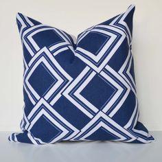 Decorative Pillow 20 square nautical pillow Accent Pillow Modern geometric -navy- Throw Pillow cover by Ellen Kathryn