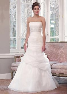 AMAZING ORGANZA SATIN MERMAID STRAPLESS NECKLINE RAISED WAISTLINE WEDDING DRESS IVORY WHITE LACE BRIDAL GOWN