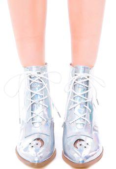 Y.R.U Aura Boot | Dolls Kill I want these so bad in both silver and black!