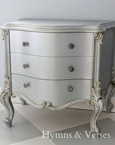 Hymns and Verses used Silver Metallic Paint to transform a Dresser | Modern Masters Cafe Blog