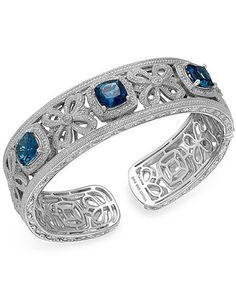 London Blue Topaz (7-3/4 ct. t.w.) and Diamond (1/10 ct. t.w.) Bangle Bracelet in Sterling Silver