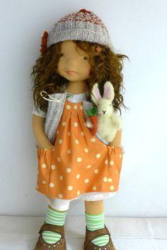 ORIANA 20 waldorf doll with felt bunny by Dearlittledoll