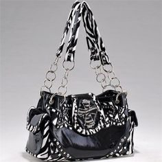 Zebra Print Purse With Chain Handles