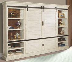 Chesapeake Vintage Burnished Rustic White Sliding Door Entertainment Wall
