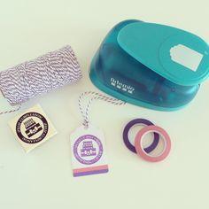 Etiquetas Feliz Cumpleaños (troqueladora, sello y washi tape)