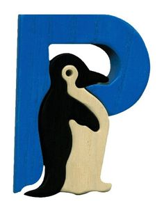Montessori wooden puzzle letter P(enguin), made by hand of maple wood,no harmful colors and no lacquer