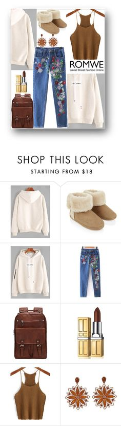 """""""ROMWE: Beige Letter Embroidery Hoodie"""" by ann-kelley14 on Polyvore featuring Accessorize, Elizabeth Arden and Carla Amorim"""