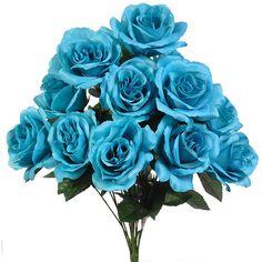 Single Silk Rose Sample 25 Colors Available, Rose Wedding Bouquet, Malibu Blue Rose, Ivory Rose, Orange Rose, Yellow Rose, Royal Blue Rose