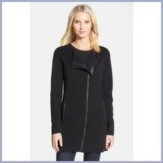 Today Recommend - Eileen Fisher Leather Trim Long Silk & Cotton Jacket