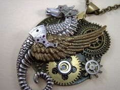Steam Punk Dragon Necklace Fantasy The Time Writer by Thecatslave, $84.00
