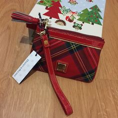 D&B Red Plaid Tassel Wristlet NWT! Red plaid pattern with tassel zipper pull and patent leather accents. ❌Trades Dooney & Bourke Bags Clutches & Wristlets