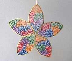 Quilling Christmas Ornament Stained Glass Star by BarbarasBeautys