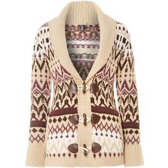 Izabel London V neck cardigan in fairisle print (2.030 RUB) ❤ liked on Polyvore featuring tops, cardigans, sweaters, jackets, outerwear, beige, knitwear, fair isle cardigan, toggle cardigan and chunky cardigan