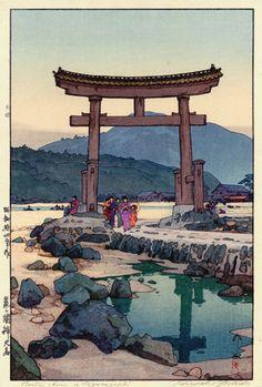 """elvispandemonium: """" Hiroshi Yoshida 吉田 博 (1876 - 1950) - Benten Shrine at Negumigaseki 1939 """""""