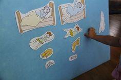 DIY felt board...felt, foam core board, sandpaper on the back of the pictures