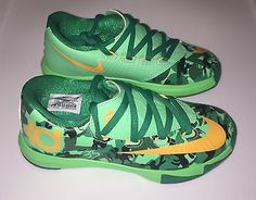 Boys Nike KD 6 Kevin Durant Basketball Shoes Green / Orange Size 11 C New