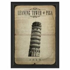 """Pairing worldly appeal with a touch of vintaged style, this charming framed giclee print showcases a Leaning Tower of Pisa motif on parchment-inspired paper.    Product: Wall artConstruction Material: Glass, ink, wood and metalColor: Black frameFeatures:  Ready to hangMade in the USADimensions: 17.13"""" H x 12.65 W x 1.13"""" D"""