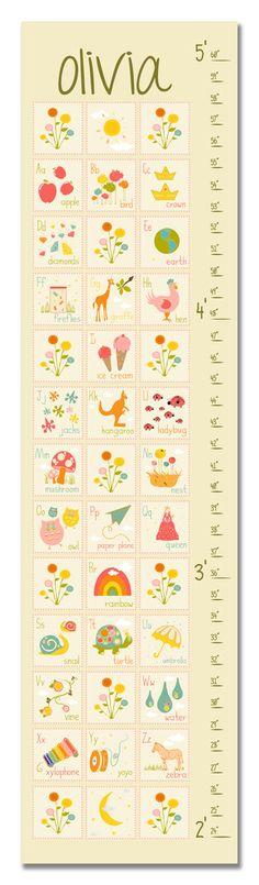 ABC's Cream Personalized growth Chart | Finny and Zook