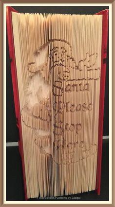 Santa Please Stop Here Scroll. Book Folding Pattern by JHBookFoldPatterns on Etsy