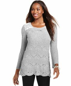Style&co. Pointelle-Knit Lace Sweater Tunic