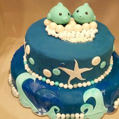 Baby shower dolphin theme cake