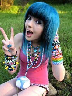 ledamonsterbunny blue black hair with kandi