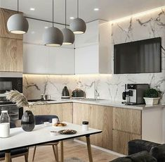 Image may contain: table and indoor Modern Kitchen Interiors, Luxury Kitchen Design, Kitchen Room Design, Living Room Kitchen, Home Decor Kitchen, Interior Design Kitchen, Kitchen Furniture, Home Kitchens, Cuisines Design