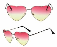This chic heart shaped sunglasses will make you look fashionable. Red yellow gradient lenses paired with a silver metal rimmed frame. Heart Shaped Sunglasses, Cat Eye Sunglasses, Mirrored Sunglasses, Heart Shapes, Yellow, Metal