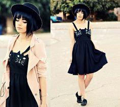 Forever 21 Hat, Dress, Coat, Forever 21 Oxfords