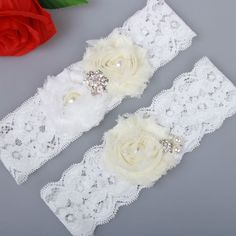 Ivory Shabby Flower Lace Wedding Bridal Garter Set Handmade With Pearl bead