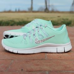 "PLEASE NOTE:  This is a pre-order listing.  It takes us approx. 30 days for us to receive these shoes from Nike.  The total turnaround time before your shoes will be shipped to you is 6-7 weeks, possibly sooner.Brand new customized pair of ""Customized NikeiD"" Nike Free 5.0 adorned with Swarovski rhinestones in a mint green.  These shoes were customized by us using NikeiD.com.  These shoes cost us $135 plus tax to purchase from Nike.* THIS IS A PRE-ORDER LISTING...."