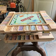 Custom made monopoly/game table I made for my father in law, who is, I might add renowned Monopoly game collector and player. It was so much fun making and he absolutely loves playing on it.