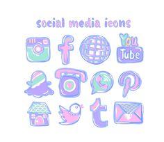 hi res clip art social media icons Social Network Icons, Social Media Logos, Social Media Icons, App Drawings, Cupcake Logo, Website Icons, Cute App, Social Media Buttons, Watercolor Logo