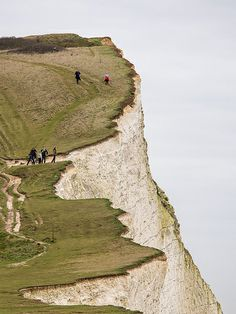 People on cliff  Seaford, England
