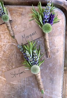 Boutonnieres featuring lavender and globe thistle, could probably use rosemary for the same effect